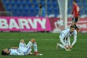Zápas 17. kola první fotbalové ligy mezi FC Baník Ostrava a 1. FC Slovácko, 17. února 2018 v Ostravě. Smutek Baníku