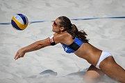 Turnaj Světového okruhu v plážovém volejbalu, 21. června 2018 v Ostravě. Na snímku Martina Bonnerová.