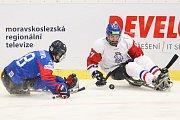 Mistrovství světa v para hokeji 2019, Korea - Česká republika (zápas o 3. místo), 4. května 2019 v Ostravě. Na snímku (zleva) Lee Jong Kyung (KOR), Dolezal Pavel (CZE).