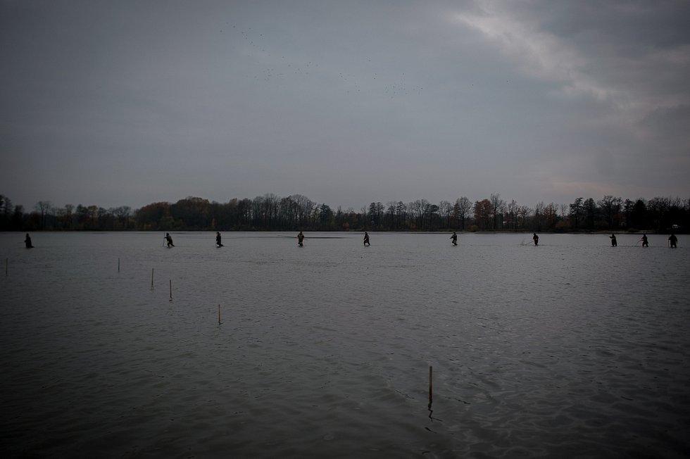 Výlov největšího rybníka v Moravskoslezském kraji Bezruč. Snímek z 10. listopadu 2017.