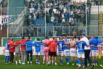 Fotbalisté Baníku Ostrava vyhráli v Teplicích 2:1. S fanoušky to pochopitelně oslavili.