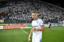 Utkání 8. kola první fotbalové ligy: SK Sigma Olomouc - FC Baník Ostrava 17. září 2021 v Olomouci. Ladislav Almási z Ostravy vyrovnával v 84. minutě na konečných 1:1.
