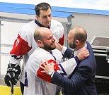 Mistrovství světa v para hokeji 2019, Korea - Česká republika (zápas o 3. místo), 4. května 2019 v Ostravě. Na snímku (urpostřed) Geier Michal (CZE).