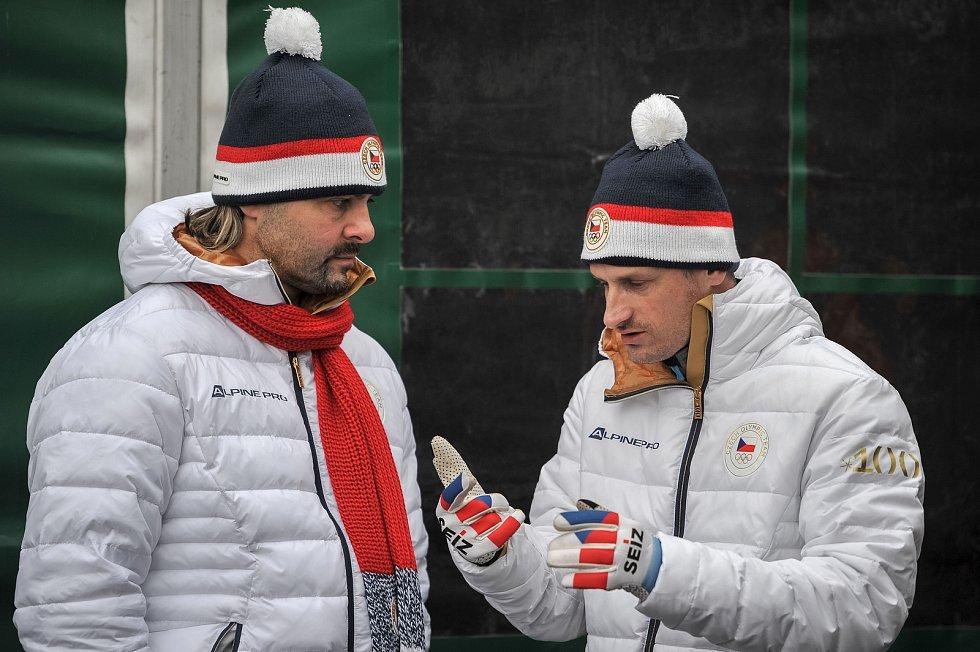 Olympijský festival u Ostravar Arény, 18. února 2018 v Ostravě. (vlevo) David Moravec a Jakub Janda.
