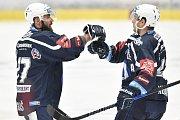 Utkání 30. kola hokejové extraligy: HC Vítkovice Ridera - HC HC Škoda Plzeň, 28. prosince 2018 v Ostravě. Na snímku (zleva) Milan Gulaš a Jan Kovář.