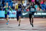 Zlatá tretra, atletický mítink IAAF World Challenge, 20. června 2019 v Ostravě. Na snímku (zleva) Pavel Maslák, Andre De Grasse a Christian Coleman.