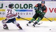 Předehrávka 42. kola hokejové extraligy: HC Vítkovice Ridera - BK Mladá Boleslav, 4. prosince 2018 v Ostravě. Na snímku (zleva) Kucsera Lukáš z Vítkovic a Najman Ondřej z Mladé Boleslavi