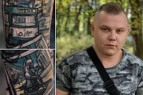 Tetování ostravského patriota Romana Trávnička.