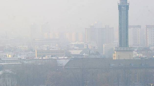 Smogová situace v Ostravě, neděle 9. prosince.