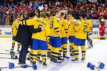 Mistrovství světa hokejistů do 20 let, zápas o 3. místo: Švédsko - Finsko, 5. ledna 2020 v Ostravě. Na snímku radost Švédska.