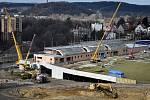 Přestavba fotbalového stadionu Bazaly v Ostravě pokračuje, snímek z 19. března 2019.