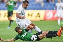 Utkání 1. kola první fotbalové ligy: Baník Ostrava - FK Jablonec, 23. července 2018 v Ostravě. (dole) Hovorka David a Milan Baroš.