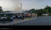Požár autobusů na Hranečníku.