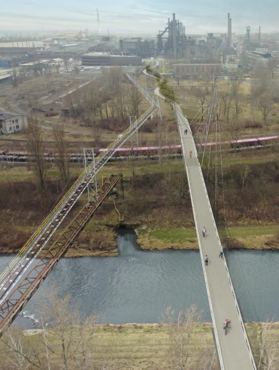 Vizualizace lávky, která propojí DOV a centrum Ostravy.