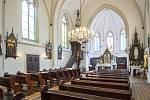 Římskokatolický farní kostel svatého Františka a Viktora v městské části Hrušov, červenec 2019 v Ostravě.