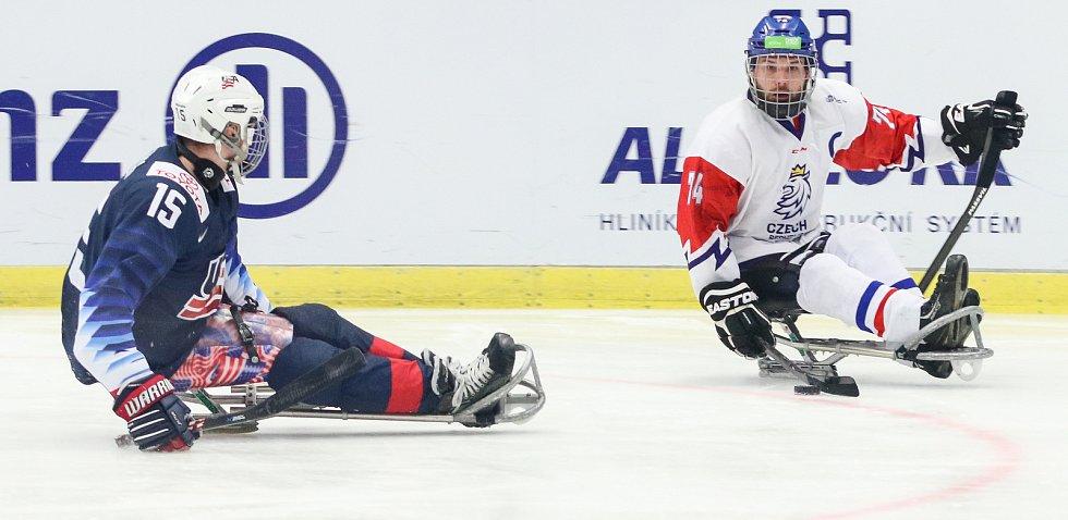 Mistrovství světa v para hokeji 2019, 3. května 2019 v Ostravě. Na snímku (zleva) Zych Kyle (USA), Geier Michal (CZE).
