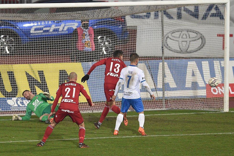 Utkání 13. kola první fotbalové ligy: FC Baník Ostrava - Sigma Olomouc, 18. prosince 2020 v Ostravě. (Zleva) brankář Ostravy Jan Laštůvka a Mojmír Chytil z Olomouce.
