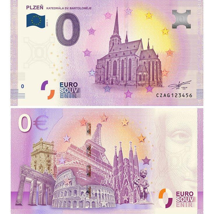 Plzeň -  suvenýrová eurobankovka, vydání roku 2019.