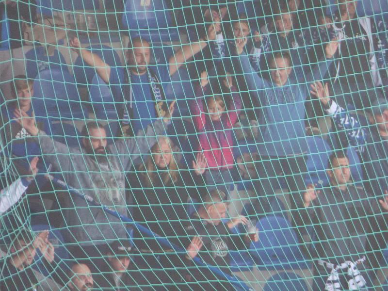 Fotbalisté Baníku Ostrava v neděli hráli v Liberci. 2. poločas. Fanoušci Baníku.