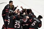 Mistrovství světa hokejistů do 20 let, finále: Rusko - Kanada, 5. ledna 2020 v Ostravě. Na snímku radost Kanady.