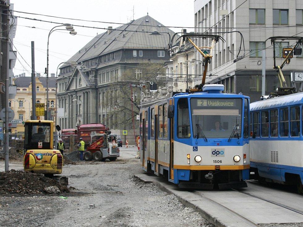 Rekonstrukce Nádražní v centru Ostravy.
