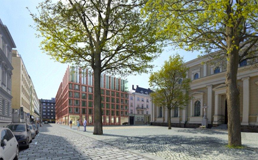 Parkovací dům. Vítězný návrh. Pohled z náměstí Msgr. Šrámka. Vizualizace.