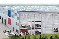 Terminál kombinované dopravy u letiště Mošnov, vizualizace.