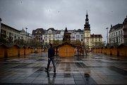Trhy na Masarykově námestí jsou zavřené, 27. prosince 2018 v Ostravě.