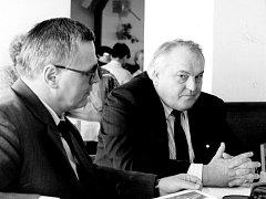 NÁRODNÍCI. Ivan Dřímal (vpravo), předseda Moravské národní strany v Brně, patřil k nejradikálnějším moravským národníkům.