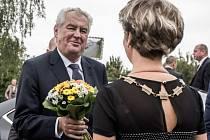 Prezident Miloš Zeman při návštěvě Moravskoslezského kraje.