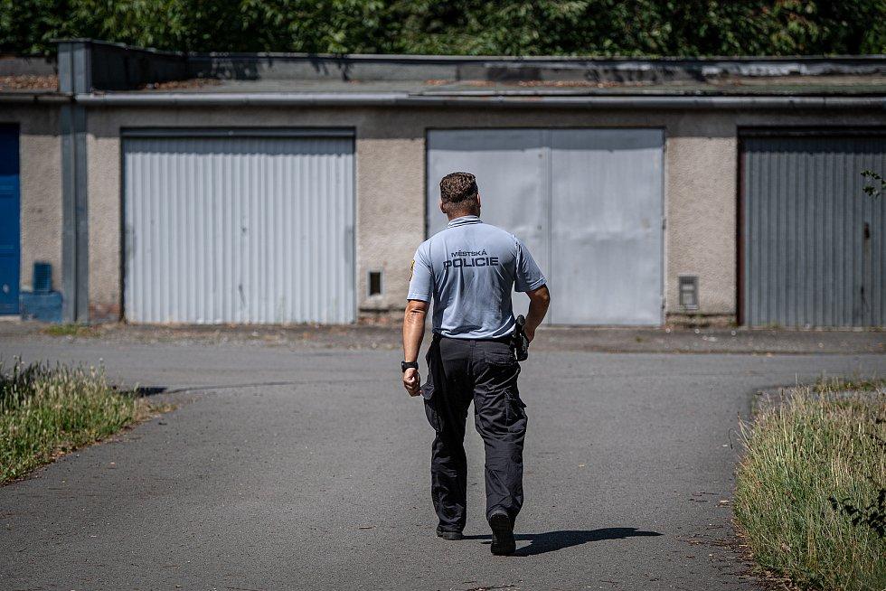 Policisté se strážníky pátrají po ztraceném krokodýlovi v okolí ulice Závodní, 26. července 2021 v Ostravě-Hrabůvce.