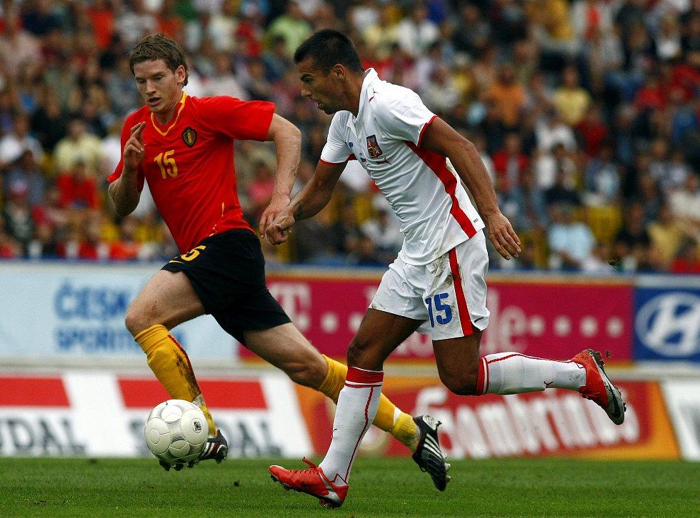 Milan Baroš během zápasu s Belgií.