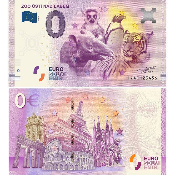 Zoo Ústí nad Labem - suvenýrová eurobankovka, vydání roku 2019.