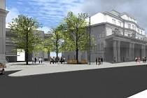 Vizualizace. Piazzetta mezi bankou a zastávkou Elektra má vzniknout v rámci druhé etapy rekonstrukce ulice Nádražní.