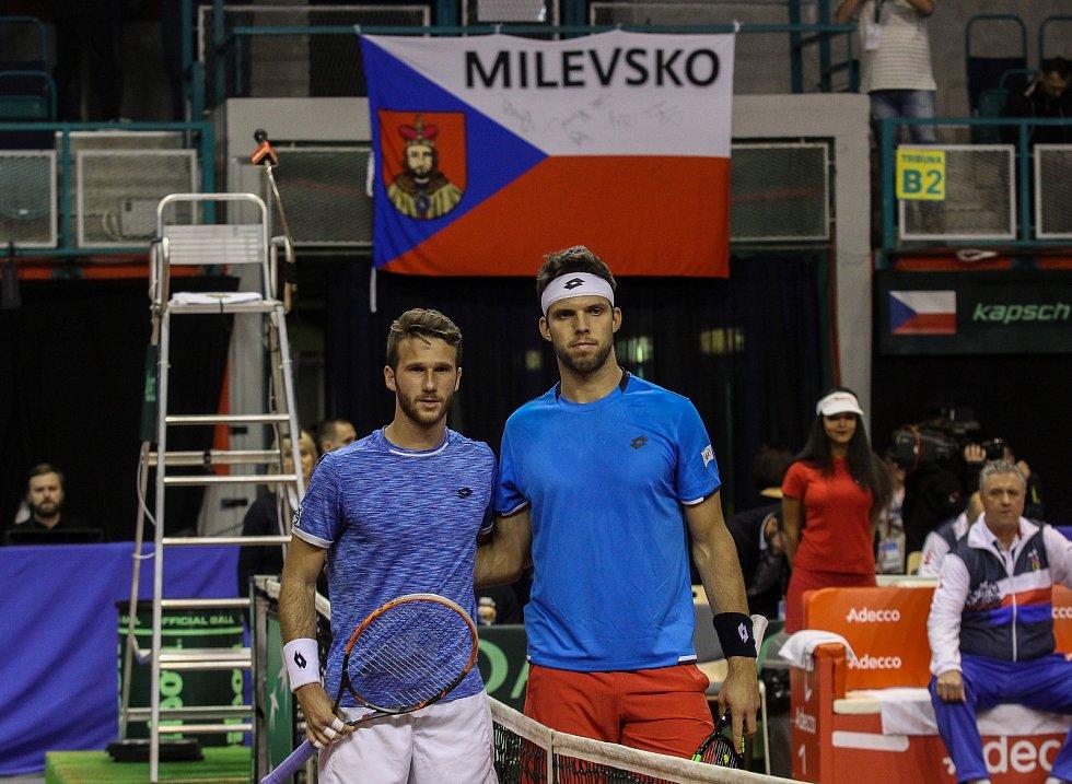 Davis Cup 2018 v Ostravě - Česko vs. Izrael, vlevo Edan Leshem, vpravo Jiří Veselý