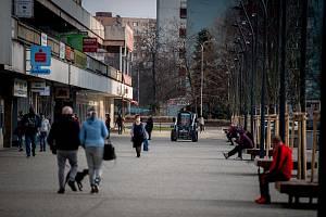 Ostrava-Jih, část Hrabůvka, březen 2020, po vyhlášení nouzového stavu v Česku z důvodu koronavirové nákazy (COVID-19).