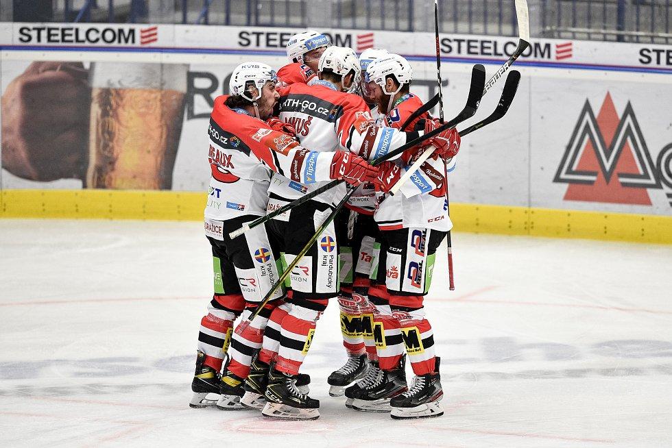 Utkání 24. kola hokejové extraligy: HC Vítkovice Ridera - HC Dynamo Pardubice, 4. prosince 2020 v Ostravě. Radost Pardubic.