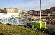 Příprava Olympijského festivalu u Ostravar arény, středa 7. února 2018.