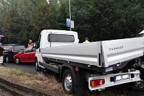 Zásah hasičů u nehody v Ostravě-Porubě.