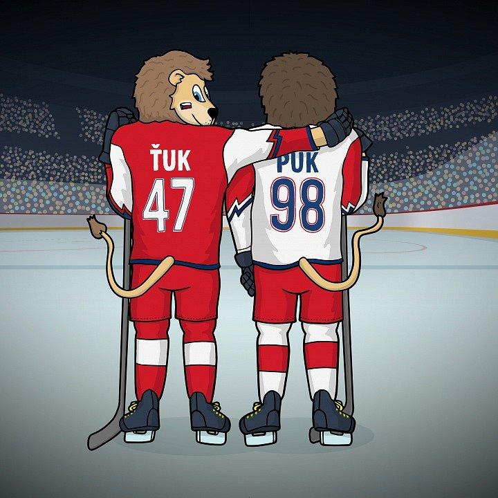 Maskoti hokejové reprezentace lvíčci Puk a Ťuk.
