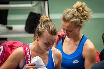 1. kolo tenisového Fed Cupu: Česká Republika - Rumunsko, 10. února 2019 v Ostravě. Na snímku Barbora Krejčíková (vlevo) a Kateřina Siniaková (vpravo) proti Irina-Camelia Beguová a Monica Niculescuová.
