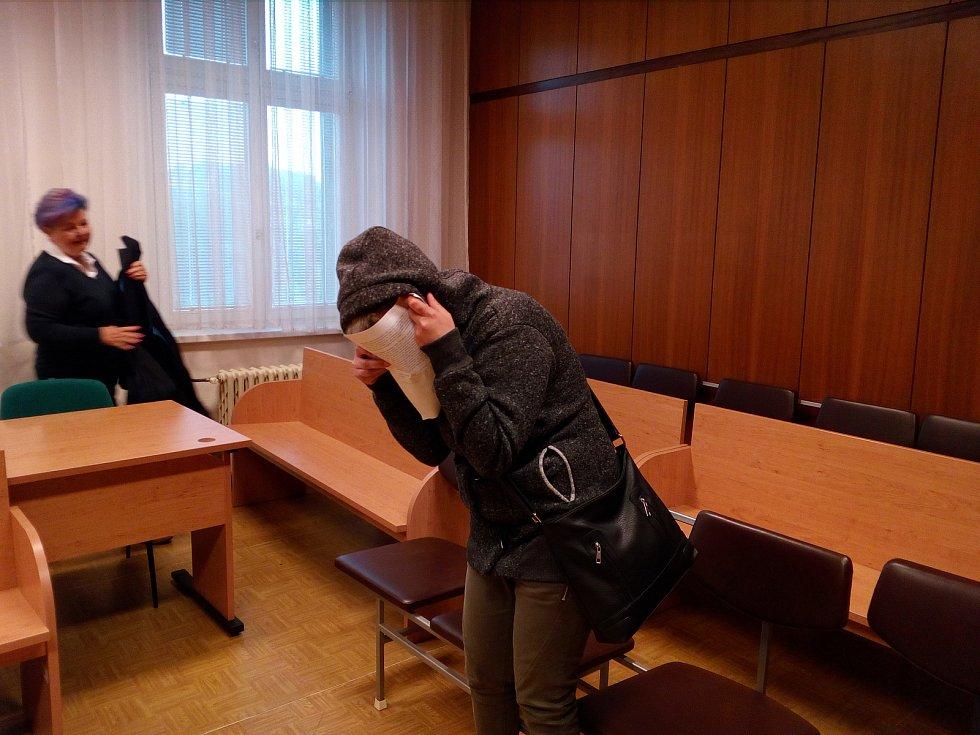 Žena (na snímku z jednání u Krajského soudu v Ostravě) nakonec do vězení nemusí.
