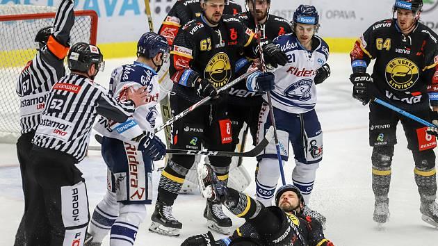 Utkání 37. kola hokejové extraligy: HC Vítkovice Ridera - HC Verva Litvínov, 17. ledna 2020 v Ostravě. Na snímku (vpředu) Dominik Lakatoš, Michal Trávníček.