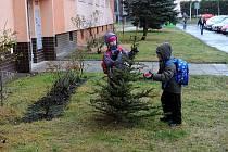 Malé děti se zúčastnily akce Sesbíraní starých vánočních stromků na sídlišti Ostrava Jih.