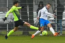 Fotbalisté Baníku Ostrava prohráli přípravné utkání s druholigovým Prostějovem 0:1. (6. ledna 2021, Ostrava). Na snímku vpravo Nemanja Kuzmanovič.