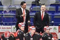 Utkání 13. kola hokejové extraligy: HC Vítkovice Ridera - Mountfield Hradec Králové, 25. října 2019 v Ostravě. Na snímku (zleva) Vladimír Růžička a Tomáš Martinec.
