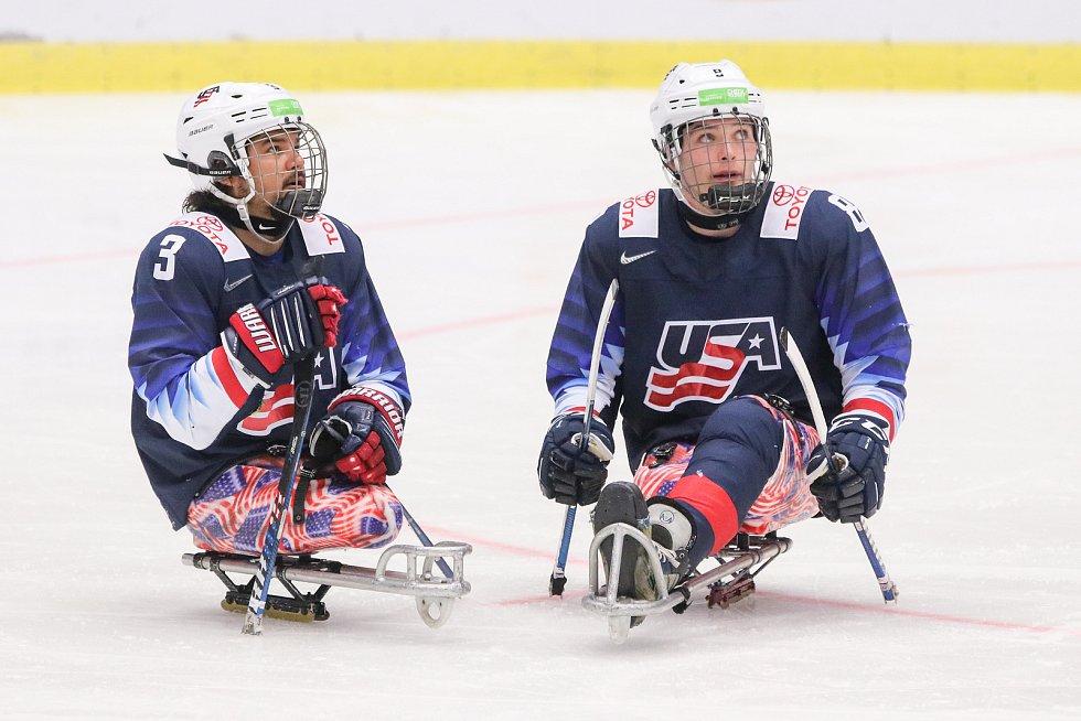 Mistrovství světa v para hokeji 2019, 3. května 2019 v Ostravě. Na snímku (zleva) Dequebec Ralph (USA), Wallace Jack (USA).