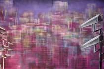 Michal Cimala:  Bez názvu, malba sprejem přes šablony, 2008 (výřez obrazu).