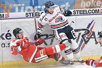 Utkání 44. kola hokejové extraligy: HC Vítkovice Ridera - HC Olomouc, 23. ledna 2019 v Ostravě. Na snímku (zleva) Švrček Jan a Radoslav Tybor.