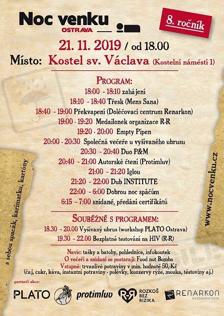 Program letošního ročníku Noc venku Ostrava, 2019.